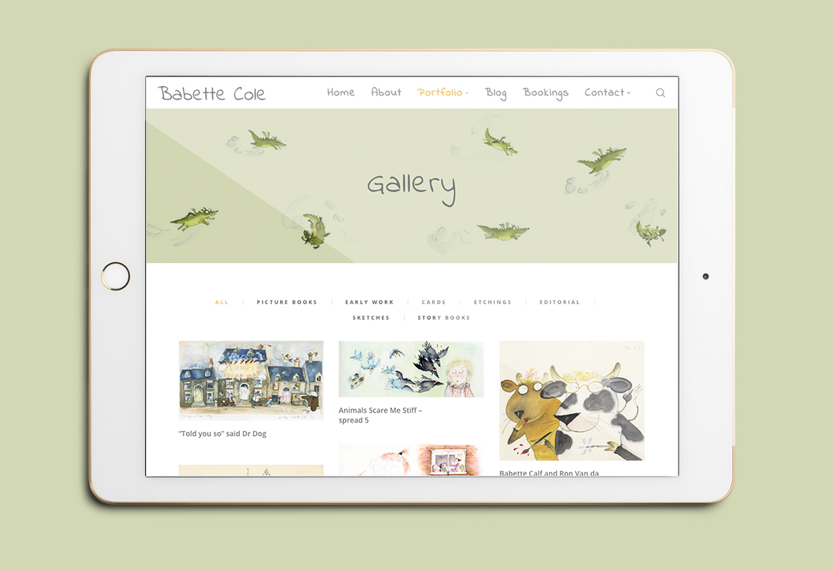 Babette Cole Website Tablet